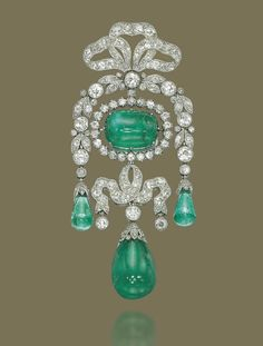 A Belle Epoque Emerald and Diamond Brooch, By Cartier