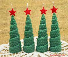 Christmas Tree Shaped Candles Holiday Home Decor Set of 4 Candles Homespun Christmas Handmade Hand Rolled Beeswax Candles Holiday Candles