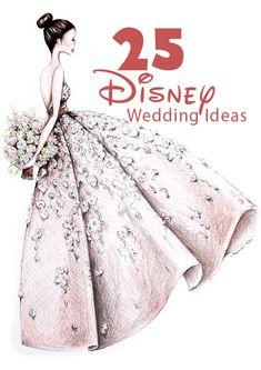 Ideas for a Disney wedding theme! Illustration by Alexandra Nea. Marriage Reception, Wedding Ceremony, Wedding Gowns, Dream Wedding, Wedding Day, Wedding Beach, Wedding Blog, Wedding Stuff, Disney Inspired Wedding