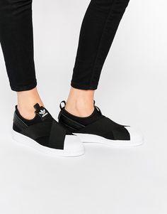 adidas Orginals Black Superstar Slip On Sneakers