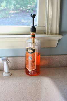 Starbucks syrup bottle re-purposed as dish detergent dispenser. Works great!