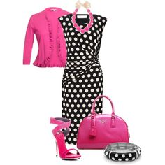 Pretty in Pink Polka Dots by justbeccuz on Polyvore featuring Precis Petite, Chesca, Giuseppe Zanotti and Apt. 9