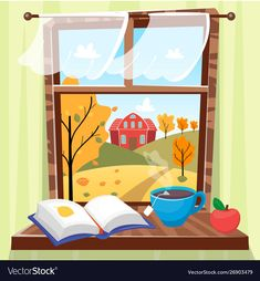 Cozy autumn window with beautiful fall view with Vector Image Autumn Illustration, Window Graphics, Window Cards, Autumn Cozy, Lectures, Free Vector Art, Pattern Wallpaper, Nursery Art, Windows