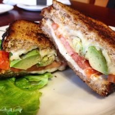Grilled Cheese with Mozzarella, Avocado and Tomato on Multigrain!  http://www.lambsfarm.org/new-healthy-menu-at-magnolia-cafe/