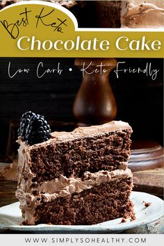 Looking for the perfect keto birthday cake? 🍰🍫 This one fits the bill! Rich and delicious chocolate goodness! 🍫🍰😋 #lowcarbcake #ketocake #lowcarb #Keto #Banting #Atkins #glutenfree #vegetarian #sugarfree Almond Flour Chocolate Cake, Low Carb Chocolate, Delicious Chocolate, Chocolate Recipes, Delicious Desserts, Yummy Food, Sweet Recipes, Real Food Recipes, Cake Recipes