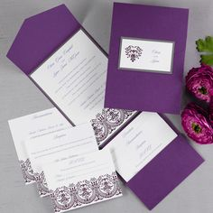 Your invitation wording is elegantly surrounded by a shimmer, purple pocket and a filigree heart design in grape. A bright white invitation is layered on top of a pewter background. Enclosure cards are available to complete this ensemble.