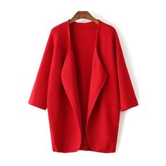 SheIn(sheinside) Red Draped Collar Raglan Sleeve Long Cardigan (€24) ❤ liked on Polyvore featuring tops, cardigans, coats, abrigos, jackets, red, drape cardigan, loose long sleeve tops, long red cardigan and red cardigan