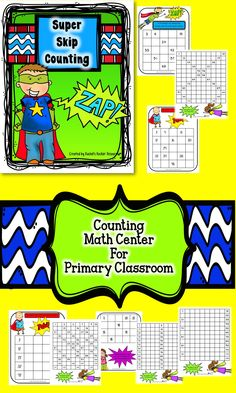 Super Skip Counting Math Center for the primary classroom. Ready-to-go, print and place in page protectors and let the practice begin!