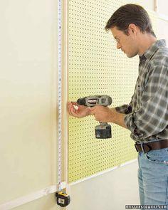 Install a Pegboard – Garage Organization DIY Pegboard Garage, How To Install Pegboard, Sewing Room Organization, Craft Room Storage, Kitchen Pegboard, Hang Pegboard, Ikea Pegboard, Painted Pegboard, Paper Storage