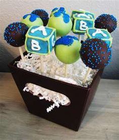 Baby Shower Boy Cake Pops Arrangement
