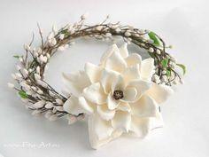 Готовые работы : Свадебный венок с бутонами и большим цветком магнолии - В НАЛИЧИИ - Fito Art