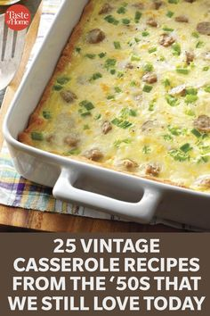 25 Vintage Casserole Recipes from the '50s That We Still Love Today Dump Meals, One Pot Meals, No Cook Meals, Easy Meals, Slow Cooker Recipes, Cooking Recipes, Healthy Recipes, Casserole Dishes, Casserole Recipes