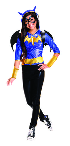 Hone your detective skills in the Batgirl costume from DC Superhero Girls! Hooded shirt, pants, eye mask, wings, gauntlets and belt. This Batgirl DC Superhero Girls Kids costume is a fun and different way to dress up as the iconic character to have fun this Halloween! #yyc #Calgary #costume #DCComics #DetectiveComics #Superhero