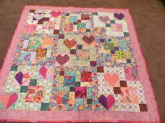 Hearts in Bloom Modern Floral Quilt by NonnaZac on Etsy, $275.00