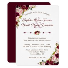 Elegant Rustic Burgundy Marsala Floral Wedding Card - rustic gifts ideas customize personalize