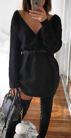 black on black   sweater dress + bag + over knee boots #omgoutfitideas #style #styleoftheday