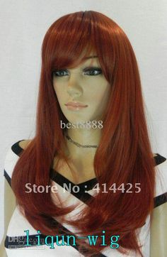 Wholesale Elegant Long Copper Red Incline Straight Lady's Cosplay Hair Full Wig/Wigs, Free shipping, $20.45/Piece | DHgate halloween