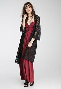 Longline Floral Lace Cardigan - Sweatshirts & Knits - 2000080303 - Forever 21 UK