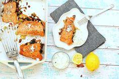 Greek Stuffed Salmon with Tzatziki Sauce Halibut Recipes, Lobster Recipes, Fish Recipes, Seafood Recipes, Dinner Recipes, Dessert Recipes, Halibut Tacos, Mahi Mahi Fish Tacos, Alaskan Crab Legs