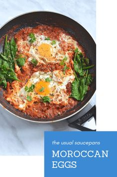 Moroccan eggs - these are the perfect way to start the day or an excellent quick dinner. Egg Recipes, Brunch Recipes, Great Recipes, Breakfast Recipes, Dinner Recipes, Summer Recipes, Fall Recipes, Brunch Ideas, Amazing Recipes