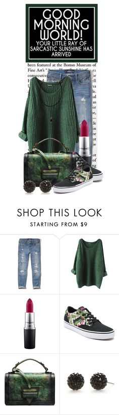 """Good Morning World...Your Little Ray of Sarcastic Sunshine Has Arrived"" by queenrachietemplateaddict ❤ liked on Polyvore featuring Hollister Co., MAC Cosmetics, Vans, Kim Rogers, GREEN, Sweater and floralshoes"