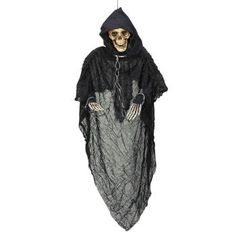 Beige Grim Reaper With Moving Jaw Hanging Halloween Prop