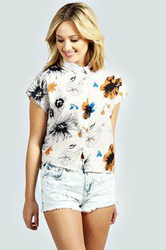 Isobel Floral Boxy Crop Shirt at boohoo.com