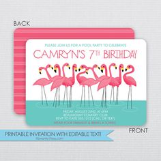 FLAMINGO Pool Party Birthday Invitations- Instant Download & Editable File - Personalize at home with Adobe Reader