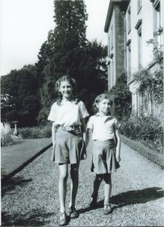 In 1951, my aunt married and moved to Perthshire, Scotland. In the August, we went en famille for our first holiday on Forneth estate. Here (in matching outfits that nowadays make me cringe), I am walking with Bridget along the terrace of Forneth House. I was 10, she was 7. About the same ages as Jo and my mother in the very first photograph posted. But what a difference!
