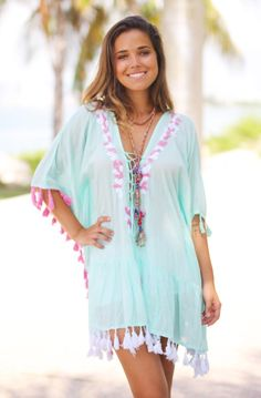 c219d606d475 Buy this pretty Mint Cover Up with Tassels from Saved by the Dress  Boutique. Perfect beach dress in mint color.