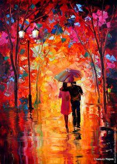 Купить Картина маслом Осень и Влюбленные - картина, масло, очень, яркая, красная, влюбленные, двое