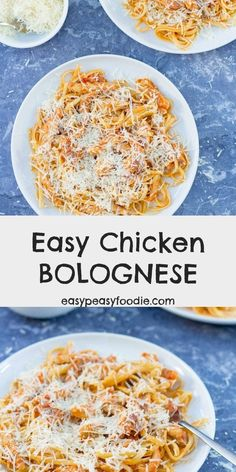 Who says Bolognese has to be made with mince? This Easy Chicken Bolognese, made with chicken thigh, is quick, easy and budget friendly – perfect for busy weeknight evenings. Easy Chicken Recipes, Easy Dinner Recipes, Pasta Recipes, Great Recipes, Favorite Recipes, Leftovers Recipes, Cheese Recipes, Recipe Ideas