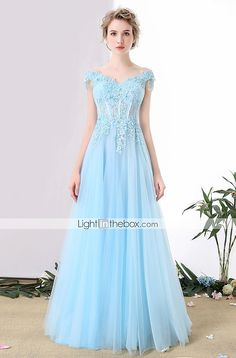 Formal Evening Dress A-line Off-the-shoulder Floor-length Tulle with Beading / Lace / Sequins 5347527 2017 – ¥20,438
