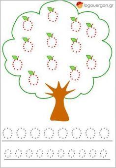 #prografikesaskiseis #logouergon  Τα παιδιά καλούνται να σχεδιάσουν τα μήλα στο δέντρο και κατόπιν τα Ο κεφαλαίο και ο μικρό στο κάτω μέρος της σελίδας βοηθώντας το έτσι να γράψει και να διαβάσει το γράμμα ο .Επιπλέον η δραστηριότητα αυτή ενισχύει τον οπτικοκινητικό συντονισμό , την αντίληψη των γραμμάτων , την ικανότητα ομαλής σχεδίασης των βασικών σχημάτων καθώς και την λεπτή κίνηση του παιδιού.