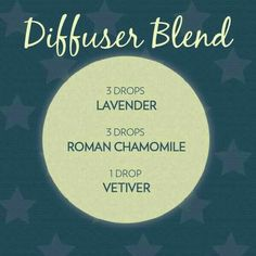 Diffuser Blend 3 drops each: Lavender,  Roman Chamomile, & 1 drop of Vetiver