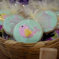 Adorable decorated bird cookies at a girl baby shower! See more party ideas at CatchMyParty.com! #babyshower #partyideas