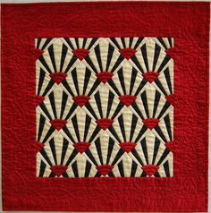 Black Red and Cream Silk Miniature Fan Quilt. Art Deco