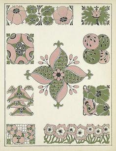 Art deco, art nouveau designs (several designs and color combos here! Embroidery Art, Embroidery Patterns, Web Gallery Of Art, Art Nouveau Design, Arte Floral, Illustrations, Textures Patterns, Book Design, Art Images