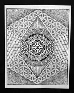 Bloem van het leven Mandala van ARTisZenShop op Etsy