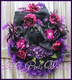 Magenta, Purple & Black Feather Owl Halloween Wreath