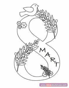 8 Mart Boyama Sayfası - Önce Okul Öncesi Ekibi Forum Sitesi - Biz Bu İşi Biliyoruz Mom Day, Ladies Day, Pre School, Diy Cards, Special Day, 8th Of March, Preschool Art Activities, Letter Art, Mandala