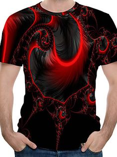 Herrn T-shirt, Rundhalsausschnitt Rote 3d T Shirts, Cool Shirts, Printed Shirts, Tank Top Herren, Herren T Shirt, Mens Outdoor Clothing, T Shirt Rot, Mens Clothing Styles, Sweater Shirt