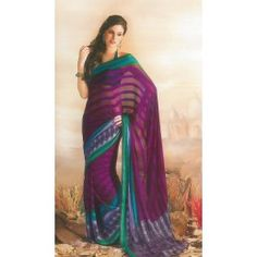 Wine and Green color Satin Patty saree