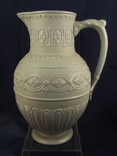 VICTORIAN RELIEF MOULDED PORCELLANOUS STONEWARE JUG / PITCHER 22cms high no mark