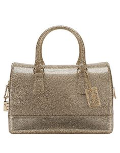 Furla Candy Glitter PVC Medium Satchel Oro