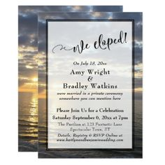 Sunrise Beach Photo We Eloped Script Celebration Card - wedding invitations cards custom invitation card design marriage party