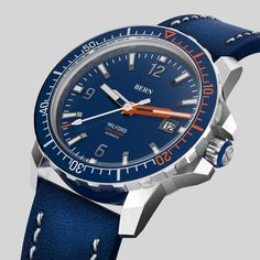 Coming Soon to kickstarter, register your interest today at bernwatch.com  Bern Milford Featuring a 42mm 316L Brushed Stainless Steel Case, powered by Miyota 8215 Mechanical movement, 300m/1000ft Dive depth, unidirectional clicking bezel with Swiss X1-Grade GL-C3 Superluminova on indexes, hands and aluminium bezel insert. Anti Reflective coated Sapphire Crystal. One of the most awaited dive watch launches of 2019 Brushed Stainless Steel, Bern, Watch Brands, Omega Watch, Sapphire, Product Launch, Hands, Crystal, Watches
