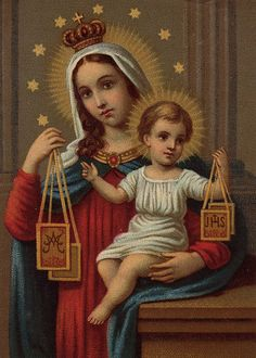 """Glossy full-color print of the Scapular holy card image suitable for framing. Image is from a turn-of-the-century Italian Holy Card and depicts the Blessed Mother as """"The Madonna of the Scapular"""". The"""