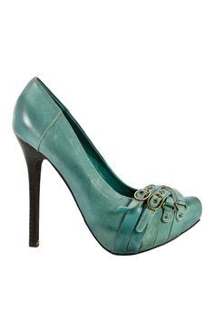 Triple Buckle Heels In Teal. http://www.facebook.com/pages/AAA-to-taaakie-buty/145042465650678