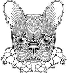 free bulldog zentangle coloring page for adults This will be great for Mom, who loves Boston Terriers.